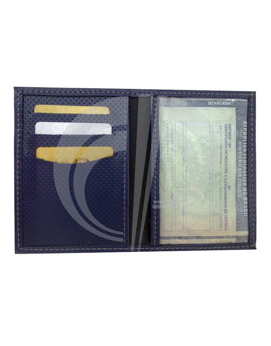 Porta documento/cartão com visor cristal