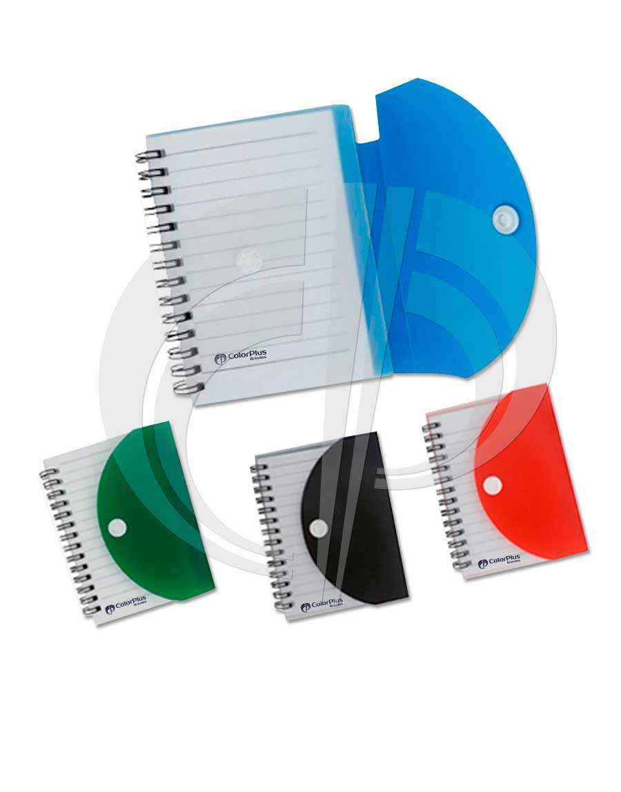 Bloco de anotações com capa de plástico