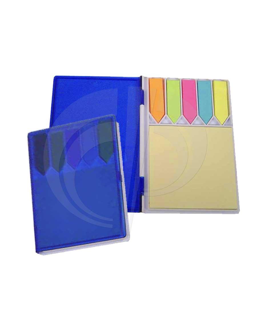 Bloco de anotações com estojo de plástico