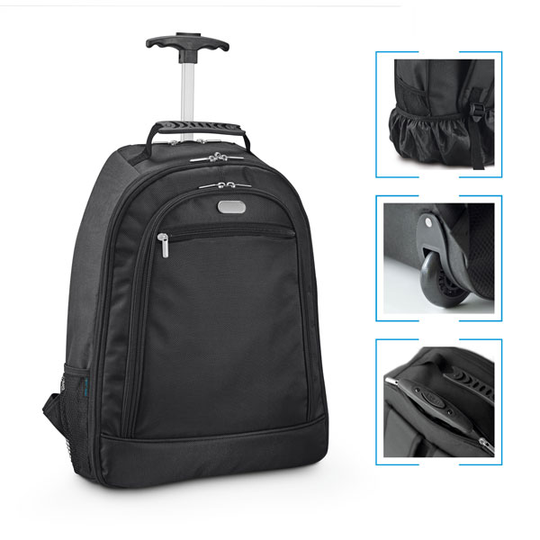 Mochila executiva notebook nylon 1680D c/ 2 rodas.